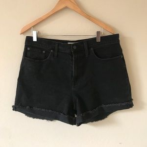 Madewell High-Waisted Black Denim Shorts Size 32